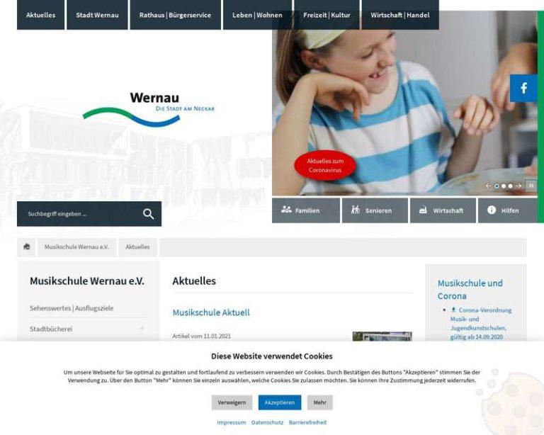 Screenshot (middle) http://Musikschule-Wernau.de