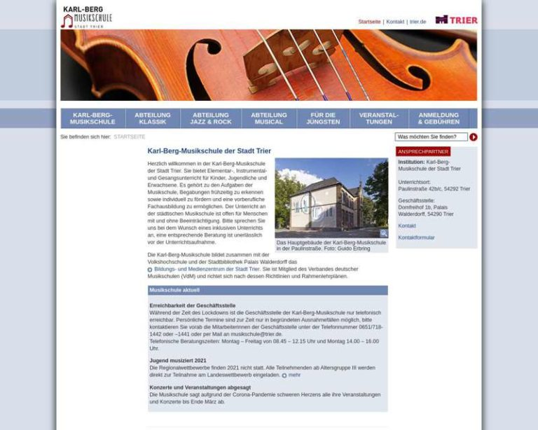Screenshot (middle) http://www.musikschule-trier.de