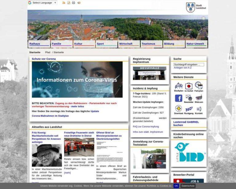 Screenshot (middle) http://www.landshut.de