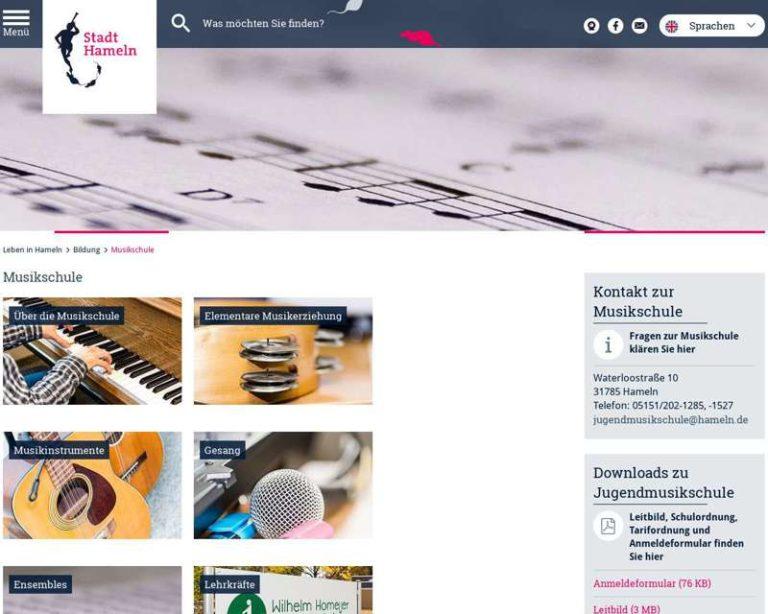 Screenshot (middle) http://www.hameln.de/musikschule