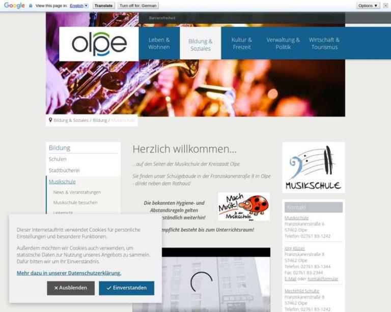 Screenshot (middle) http://www.musikschule-olpe.de