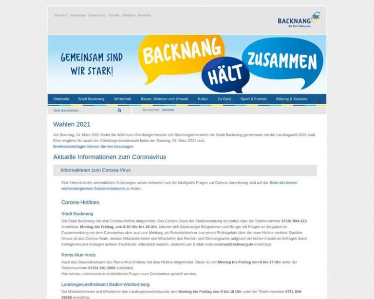 Screenshot (middle) http://www.backnang.de