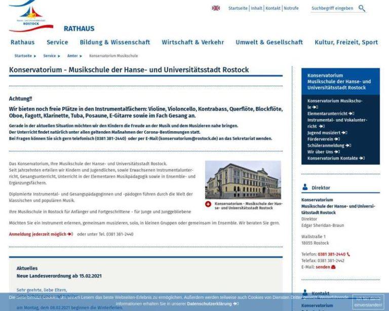 Screenshot (middle) http://www.rostock.de/konservatorium
