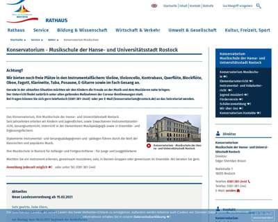 Screenshot (small) http://www.rostock.de/konservatorium