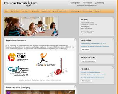 Screenshot (small) http://www.kreismusikschuleharz.de