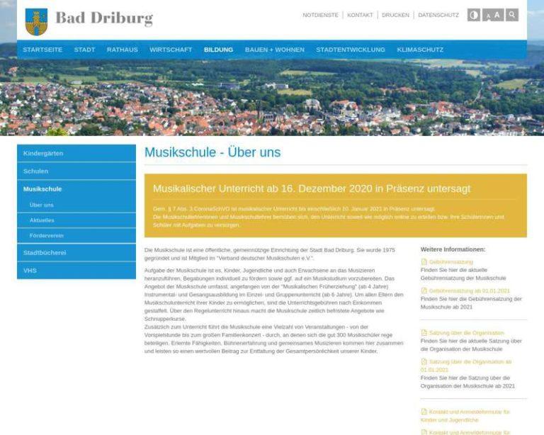 Screenshot (middle) http://bad-driburg.de/de/bildung/musikschule/
