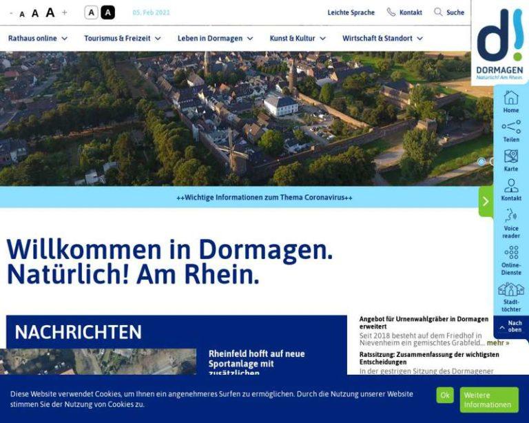 Screenshot (middle) http://www.dormagen.de