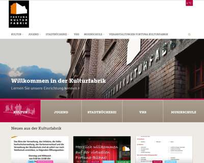 Screenshot (small) http://www.fortuna-kulturfabrik.de