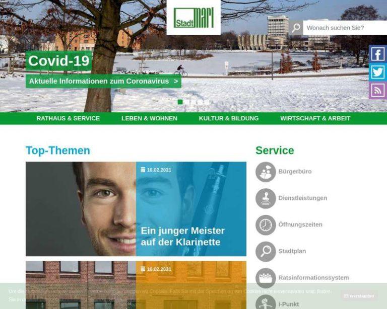 Screenshot (middle) http://www.marl.de/Bildung und Erziehung/Musikschule