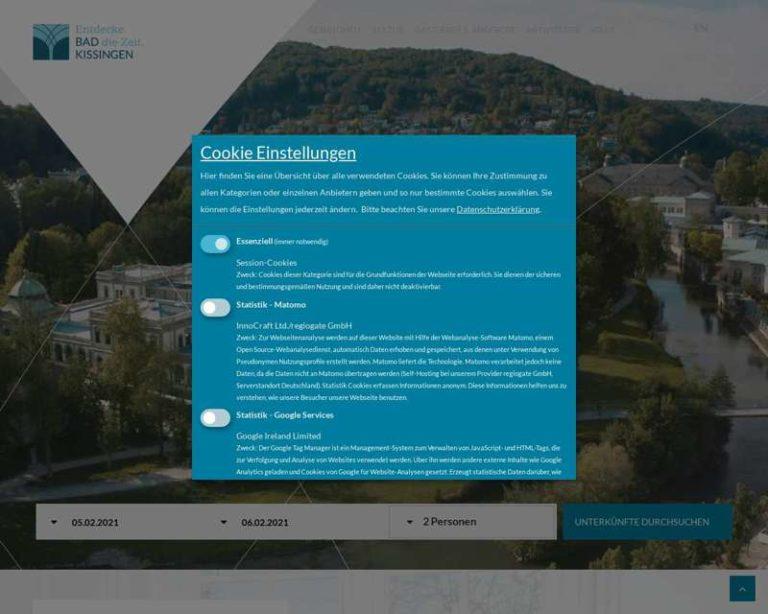Screenshot (middle) http://www.badkissingen.de