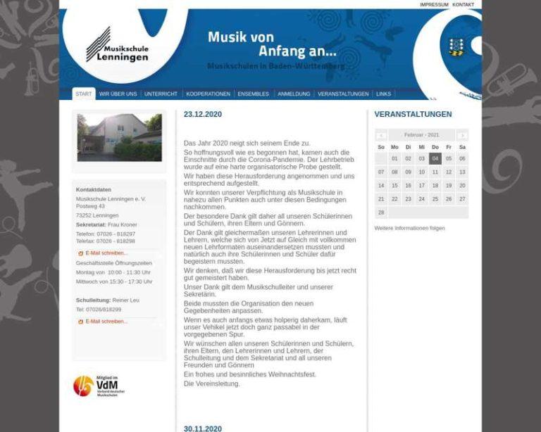 Screenshot (middle) http://www.musikschule-lenningen.de