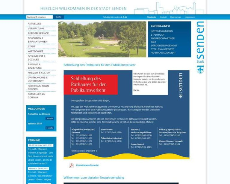 Screenshot (middle) http://www.stadt-senden.de