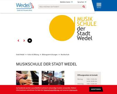 Screenshot (small) http://www.musikschule.wedel.de