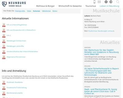 Screenshot (small) http://www.musikschule.stadtneunburgvormwald.de