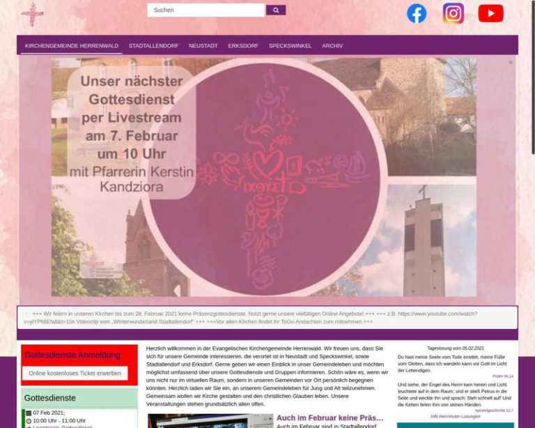 Screenshot (middle) http://kirchengemeinde-herrenwald.de